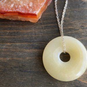 YELLOW AVENTURINE STERLING SILVER DONUT NECKLACE
